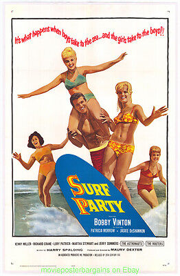 Surf Party Movie (SURF PARTY MOVIE POSTER Original 27x41 VF Linenbacked 1964 SURFING)