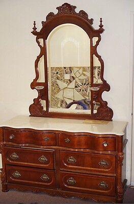 Beautiful Solid Oak wood Vintage Dark Brown Bedroom Furniture set Marble tops