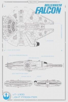 - STAR WARS THE FORCE AWAKENS MILLENNIUM FALCON 13x19 FRAMED GELCOAT POSTER SOLO!!