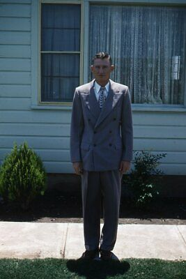 1950s Mens Suits & Sport Coats   50s Suits & Blazers 35mm Slide 1950s Red Border Kodachrome Young Man Posing in Grey Suit $22.99 AT vintagedancer.com