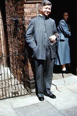 1950s Mens Suits & Sport Coats   50s Suits & Blazers Kodak Slide 1950s Orange Border Kodachrome Man in Pinstripe Suit $16.99 AT vintagedancer.com