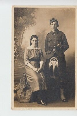 Gordon / Seaforth Highlander soldier with his sweetheart. Studio portrait