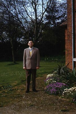 1950s Mens Suits & Sport Coats   50s Suits & Blazers 35mm Slide 1950s Red Border Kodachrome Handsome Man in Suit in Yard $21.99 AT vintagedancer.com