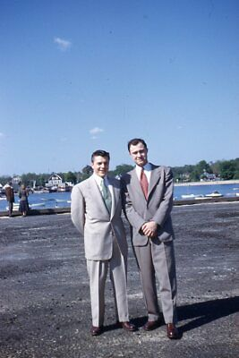 1950s Mens Suits & Sport Coats   50s Suits & Blazers 35mm Slide 1950s Red Border Kodachrome Handsome Men in Light Grey Suits by Water $19.99 AT vintagedancer.com