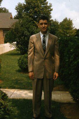 1950s Mens Suits & Sport Coats   50s Suits & Blazers 35mm Slide 1950s Red Border Kodachrome Handsome Man in Brown Suit $22.99 AT vintagedancer.com
