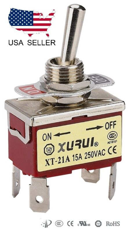 HEAVY DUTY DPST ON-OFF TOGGLE SWITCH 20A 125V, 15A 250V SPADE TERMINALS (21A)