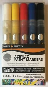 Daler Rowney Simply Acrylic Paint Markers Set 5 Colours Water Based New/Sealed
