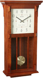 Seiko Mission Wooden Oak Case Chiming Wall Clock with Pendulum QXH045BLH