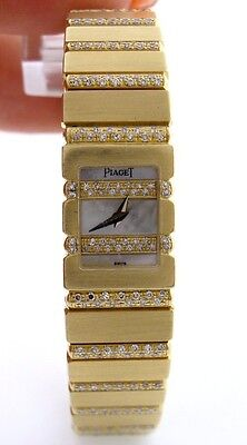 LADIES 18K YELLOW GOLD PIAGET MINI POLO MOTHER OF PEARL 3.00cts DIAMOND WATCH