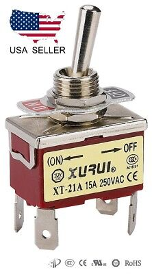 Heavy Duty Dpst On-off Momentary Toggle Switch - Spade Terminals 21af