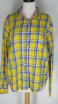 Cruel Girl Plaid western Shirt Top L Yellow Plaid Constrast Facings Button for sale  Shipping to India