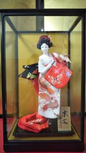 "Antique Japanese Doll in Kimono 17"" in Glass Case BEAUTIFUL vintage Red MINT!"