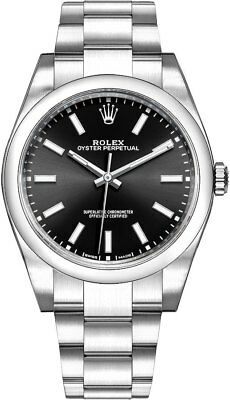New Rolex Oyster Perpetual 39 Black Dial Men's Luxury Watch 114300