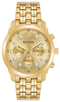 Bulova Men's Quartz Diamond Accent Hour Marker Champagne Dial 40 mm Watch 97D114