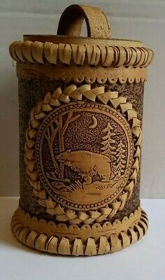 Handcrafted Russian Birch Bark Bear Decorated Storage Canister or Trinket Box (Birch Bark Boxes)