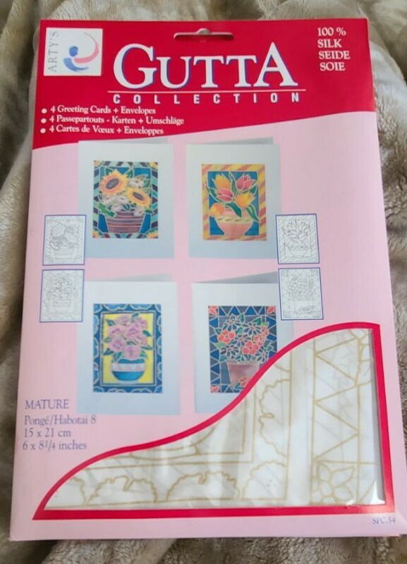 Artys Gutta Collection 4 Floral Greeting Cards Silk Painting Craft New