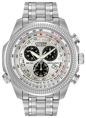 Citizen Eco-Drive Men's Chronograph Alarm Silver-Tone 48mm Watch BL5400-52A