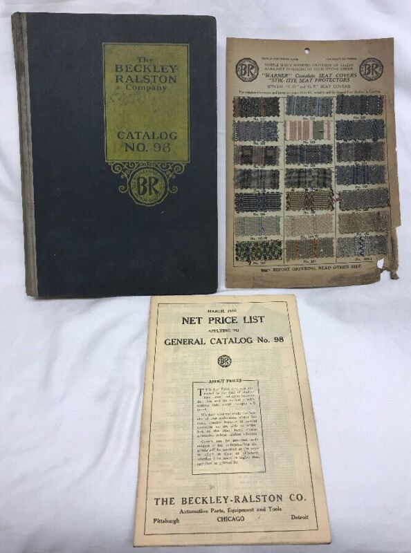 Original 1926 Beckley-Ralston Co. Catalog No. 98 Automotive & Cloth Sample Sheet