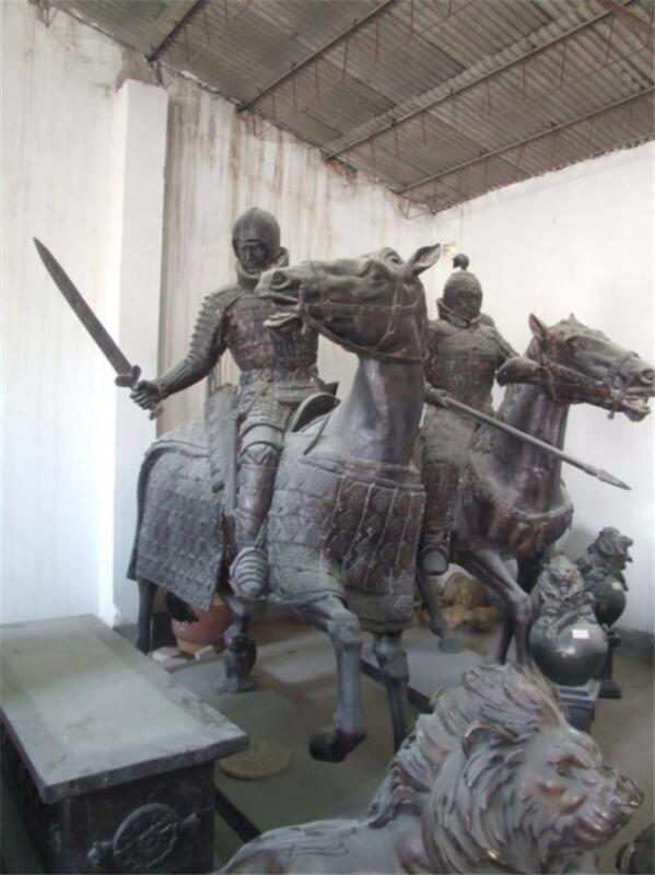 Great Large Bronze Riding Warriors On Horses 09bz98