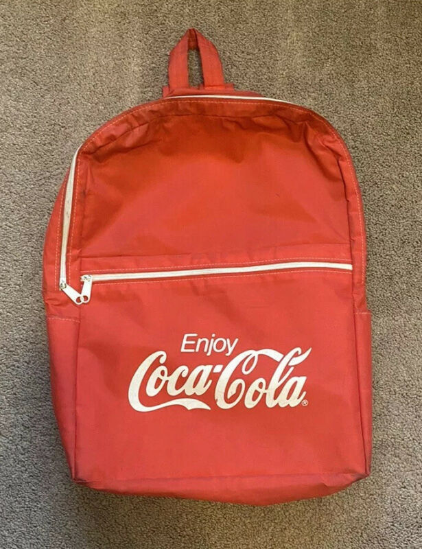 Vintage Coca-Cola Backpack Red & White Book Bag ~ RARE