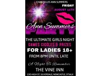 ANN SUMMERS PARTY - LADIES OVER 18 - GAMES - PRIZES - RAFFLE - TOMBOLA - BAR