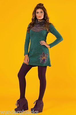 Italienische Damen Langarm (Kleid Damenkleid Langarm Tunika mit Bindegürtel 2 Farben S-L italienische Mode)