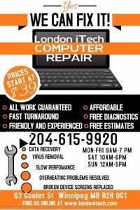 "Laptops  Desktops, Android box  and Mac repairs ,Virus removal "" FREE DIAGNOSTIC"""