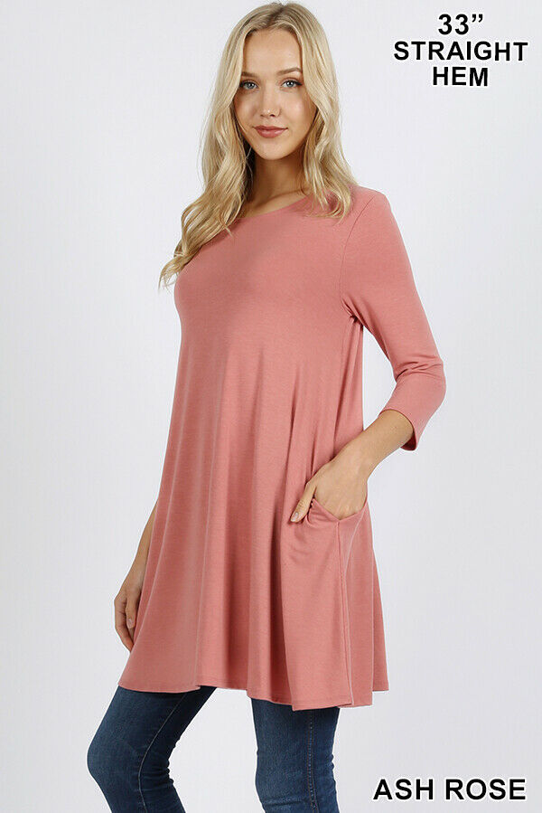 Zenana Premium Swing Tunic 3/4 Sleeve Side Pockets A-Line Mini Dress Top Blouse Clothing, Shoes & Accessories