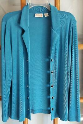 Womens Sz 1 (6/8) Chicos Travelers Teal Green Open Front Jacket Long Sleeve