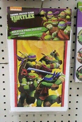 25 TMNT Ninja Turtles Party Favor Loot Bags Plastic Treat Bags Goodie Bags - Ninja Turtles Party Bags