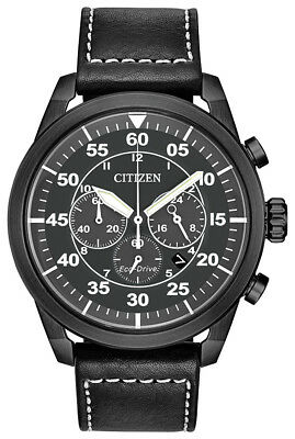 Citizen Eco-Drive Avion Men's Chronograph Black Leather 44mm Watch CA4215-21H
