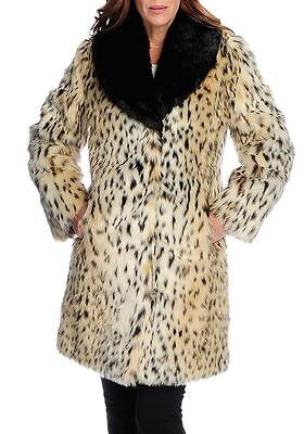 - NEW - Pamela McCoy Faux Fur Long Sleeved Shawl Collar Mid-Length Coat