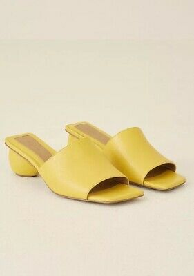Leather Yellow Orb Heel Slide Mules by Jaggar the Label UK7 EU40