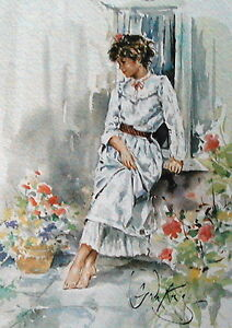 Gordon King COLETTE Small Collectable Limited Edition Watercolour Print Art 1983