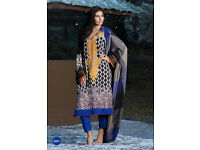 Latest Unstitched glace cotton printed suits with self embroidery