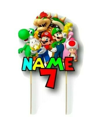 Super Mario BIRTHDAY PERSONALIZED NAME Cake Topper Kids Party Cake Topper