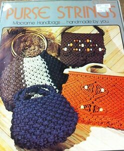 Hand Purse Patterns : PURSE-STRINGS-Vintage-MACRAME-Pattern-Book-14-Classic-Hand-Bag ...