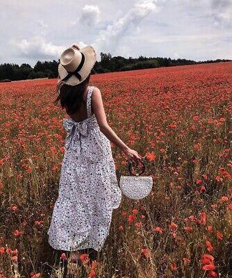ZARA White Floral Print Long Maxi Dress SIZE XS 6