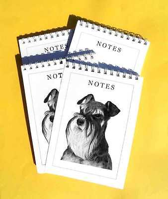 Miniature Schnauzer Dog Pack of 4, A6 Notepads Gift Set