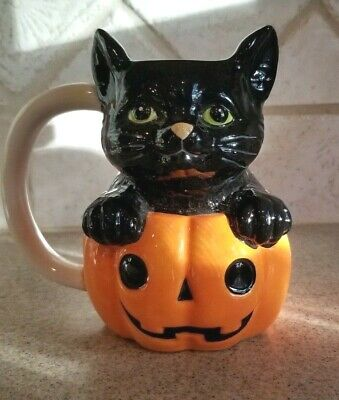 "New Halloween Black Kitty Cat W/ Pumpkin Jack O Lantern Coffee Mug 5.5"" Tall"