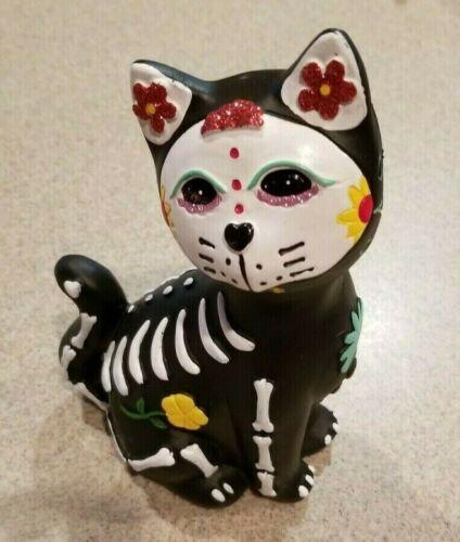"""New Halloween Day Of The Dead Sugar Skull Skeleton Glitter Kitty Cat 9"""" Figure"""