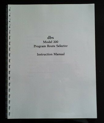 DBX-200 Program Route Selector Instruction Manual - Owners Manual