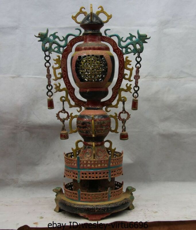 Chinese Royal Bronze Painted Small bell Beast Dragon Palace Festive lantern Lamp