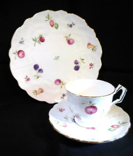 Aynsley FLORIDA TRIO - CUP SAUCER PLATE Colorful Fruit English Fine Bone China