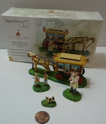 Dept 56 Seasons Bay Here Comes The Ice Cream Man 53314 Set of 4 Kids Puppy Horse