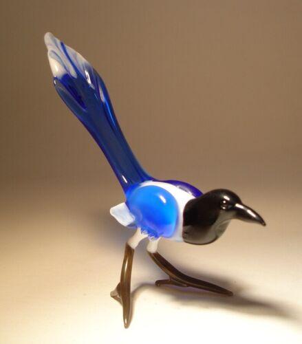 Blown Glass Figurine Art Bird MAGPIE - Blue and White