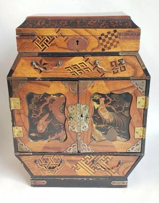 "15"" Antique Chinese Wood Inlayed & Painted Jewelry Chest Box Very Finely Made"