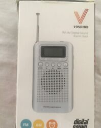 AM FM Digital Portable Pocket Radio with Alarm Clock Vondior Best Reception