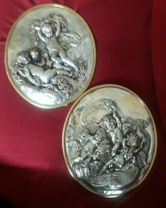 Set Of 2 Antique French Oval Cherub Silver Pictures Plaques