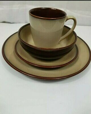 Sango Nova Brown 4933 1-Place Setting 4-Piece Set Excellent Condition  Brown 4 Piece Place Setting